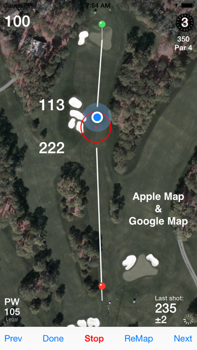 Golf GPS Rangefinder Scorecard Screenshot