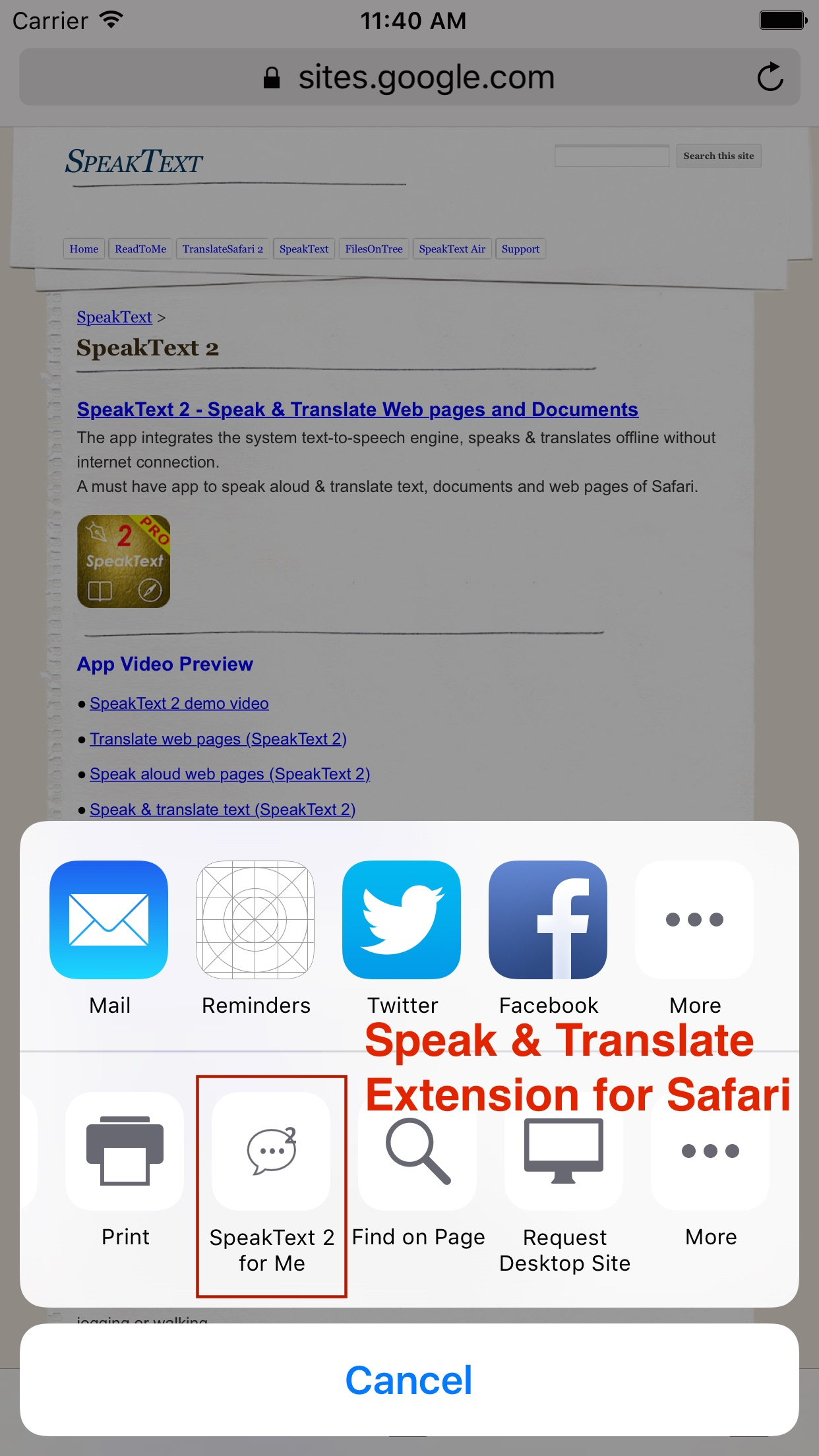 SpeakText 2 (Speak & Translate Text/Web/Doc) Screenshot