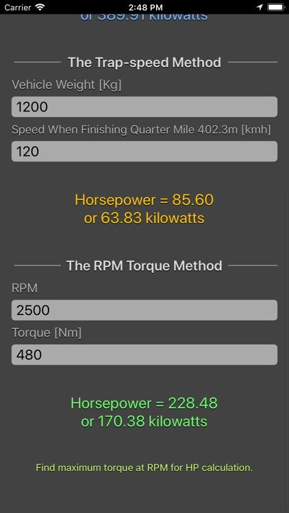 Engine Horsepower Calculator