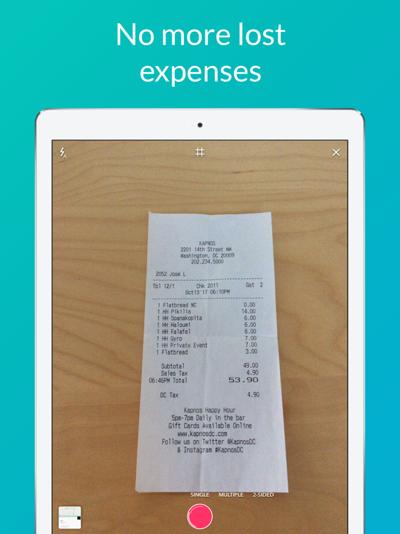 1Tap Receipts: Invoice & Receipt Scanner plus Tax Calculator & Sole Trader Finances Tracker for Self Employment Accounting screenshot