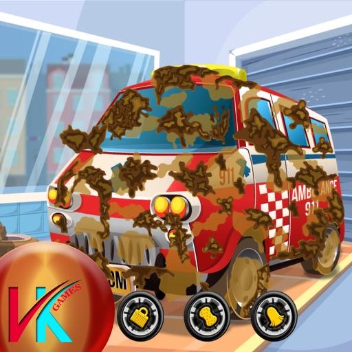 Wash The Ambulance Car Skill Game