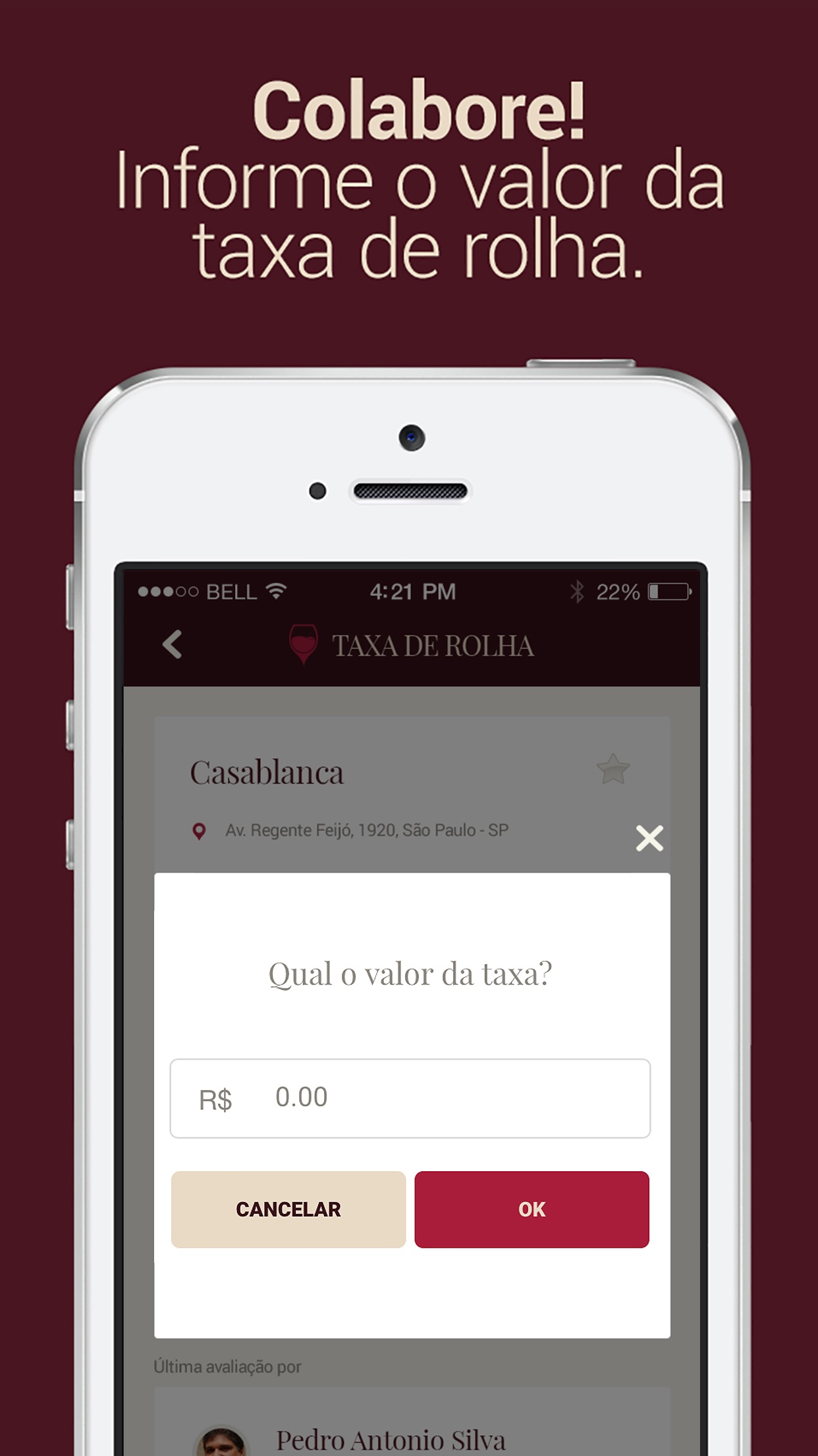 Screenshot do app Taxa de Rolha