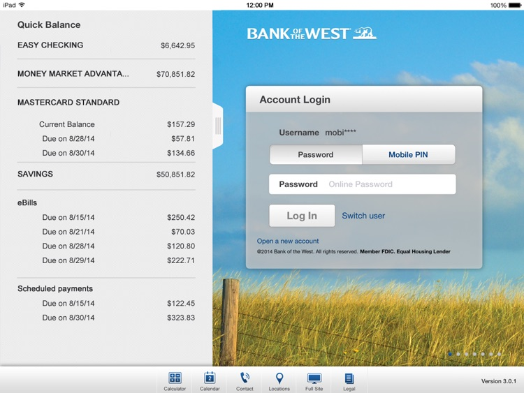 Bank of the West Mobile Banking iPad App screenshot-1
