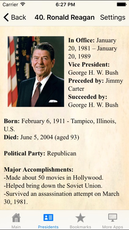 U.S.A. Presidents Pocket Reference Historic Guide screenshot-4