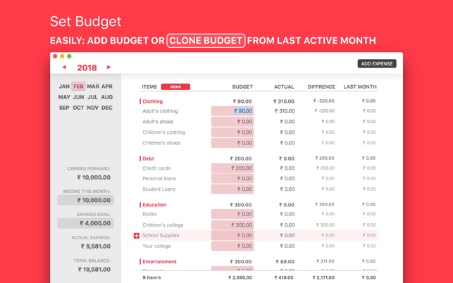 Monthly Budget on the MacAppStore