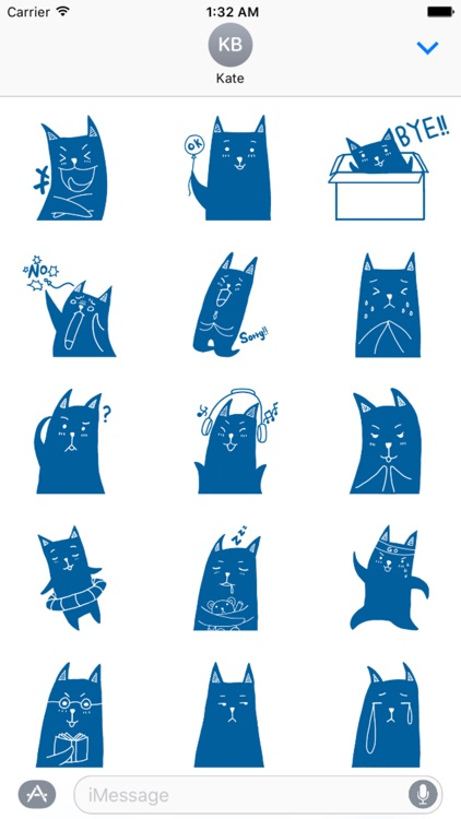 Blue Cat Stickers
