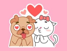 汪汪喵喵谈恋爱-微爱表情包