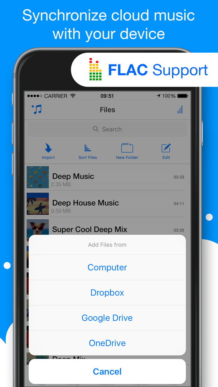 Musicloud - MP3 and FLAC Music Player for Clouds Screenshot