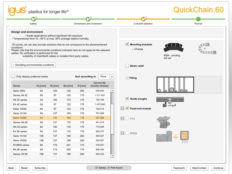 e-chains® expert for travels up to 60 m