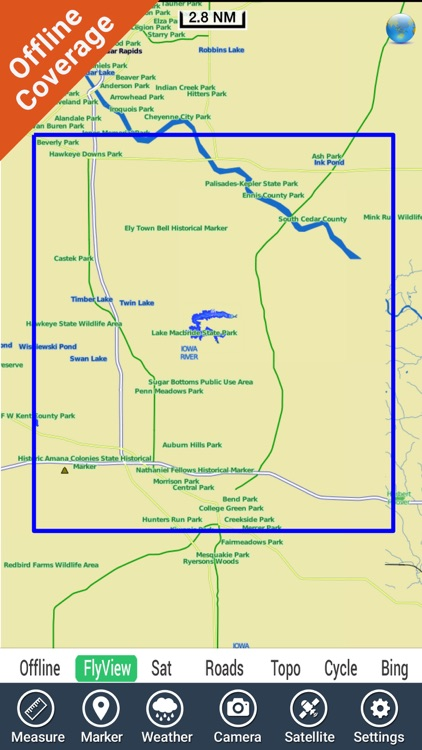 Lake Macbride IOWA HD GPS fishing chart offline screenshot-4