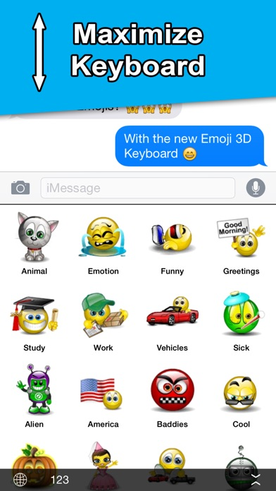Screenshot for Animated 3D Emoji - Keyboard in Denmark App Store
