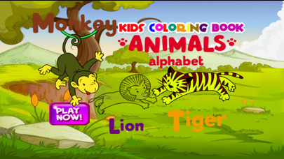 Cute animal alphabet coloring book for kids easy toddler