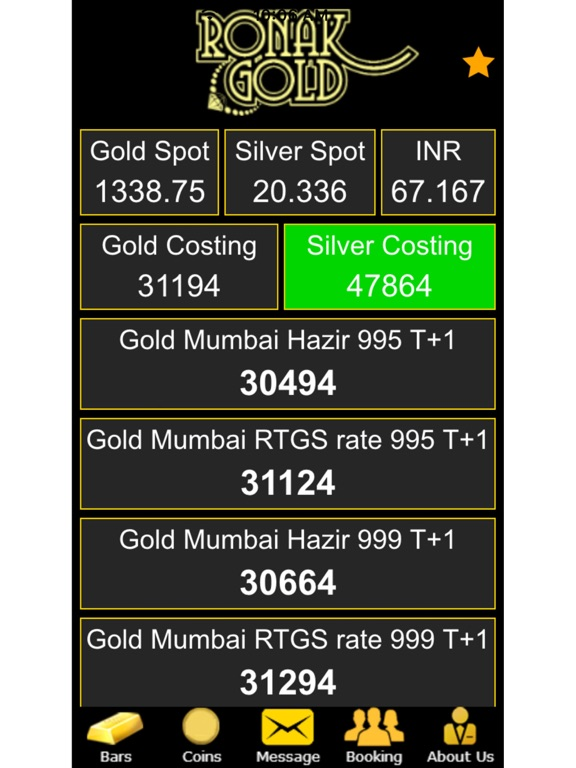 Screenshot 1 For Ronak Gold Bullion Live Rates