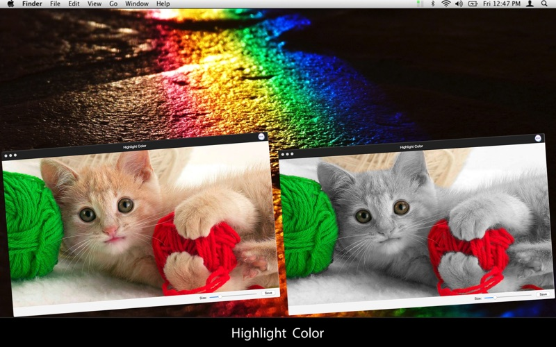Highlight Color: Create stylish effects on your photos with your image's best colors highlighted from the background for Mac