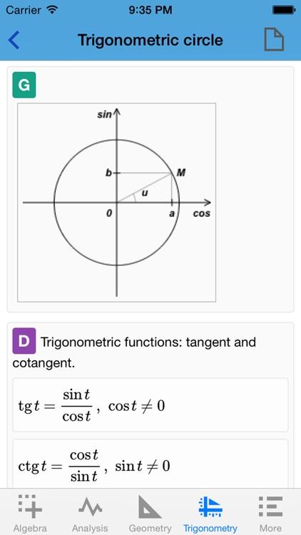 Quick Math Advanced - formulas, definitions, algorithms, theorems, applications, examples screenshot-4
