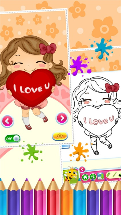 Sweet Little Girl Coloring Book Art Studio Paint And Draw Kids Game Valentine Day Screenshot