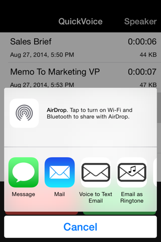 Скриншот из QuickVoice2Text Email (PRO Recorder)