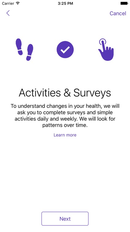 Parkinson mPower study app