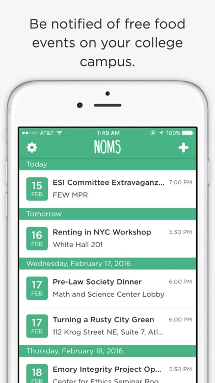 Noms - Campus Free Food Finder