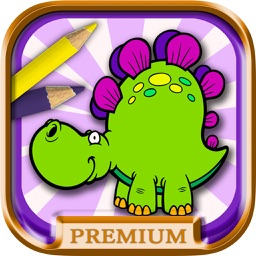Kids paint and color animals dinosaurs coloring book - Premium