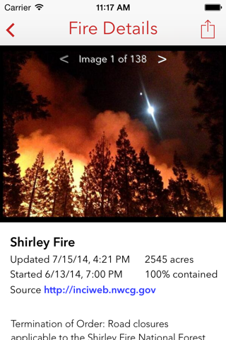 Fire Finder - Wildfire Info, Images and More screenshot 2