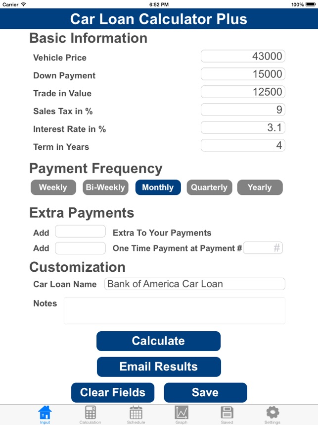 Car Loan Calculator With Extra Payments >> Car Loan Calculator Plus On The App Store