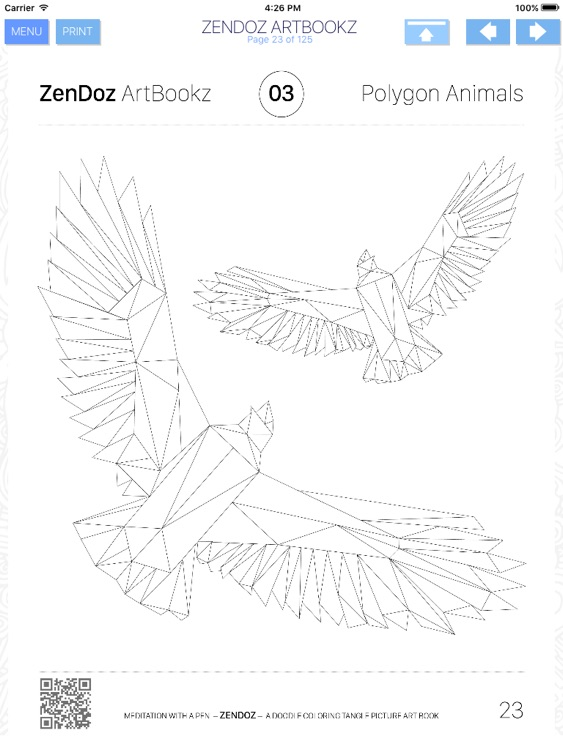 Zendoz ArtBookz - 03 - Polygon Animals - HD - Coloring Book screenshot-3