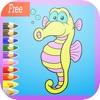 かわいい海の動物のぬりえ:ペイントと簡単に描画することを学びます