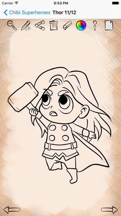 Easy Draw Super Heroes Chibi screenshot-3
