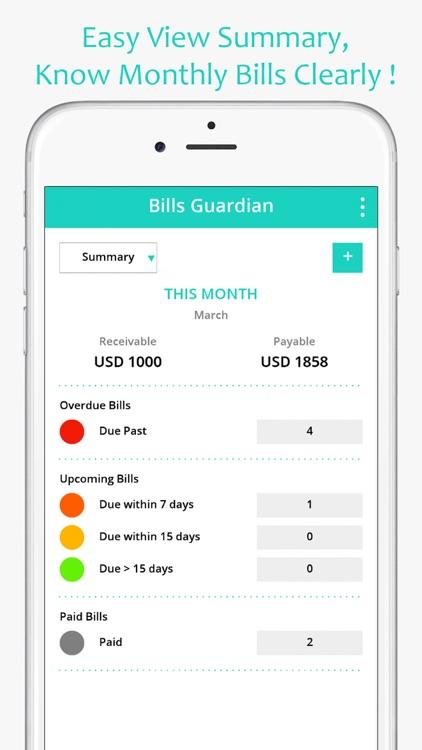 Bills Guardian - Bill Keeper, Reminder & Tracker