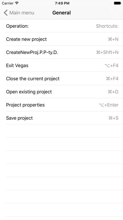 Shortcuts for Sony Vegas Pro screenshot-4