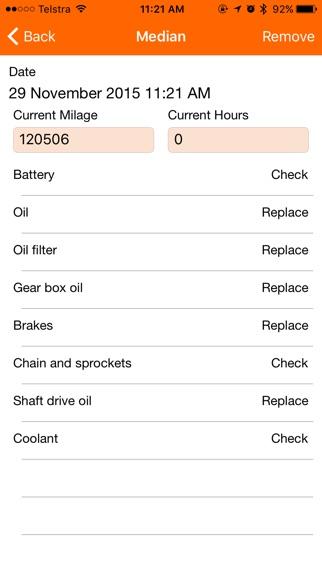 Motorbike Service - motorcycle maintenance log book Screenshot