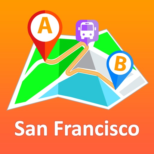 San Francisco offline map with public transport route planner for my journey