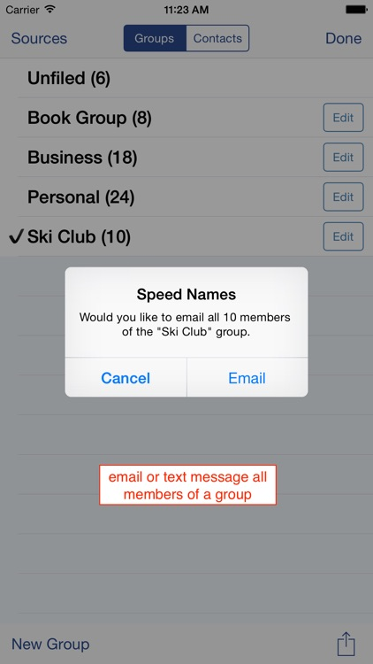 Speed Names: Contacts, Groups, Email & SMS screenshot-4
