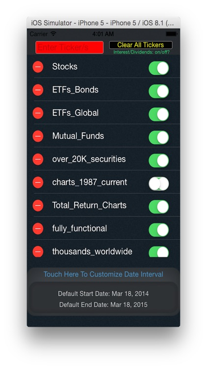 Total Returns Including Dividends - Stock Market Charts - ETFs Mutual Funds Return Calculator ReturnFinder