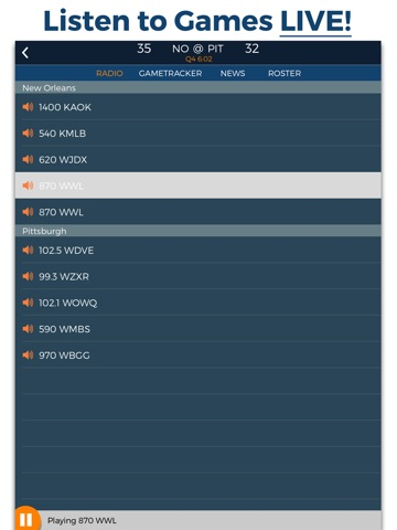 Pro Football Radio & Live Scores Screenshots