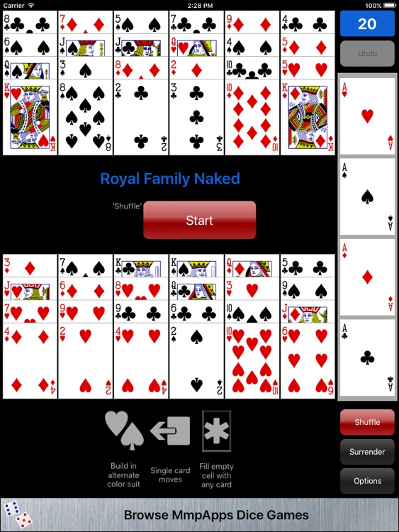 games card Naked solitaire