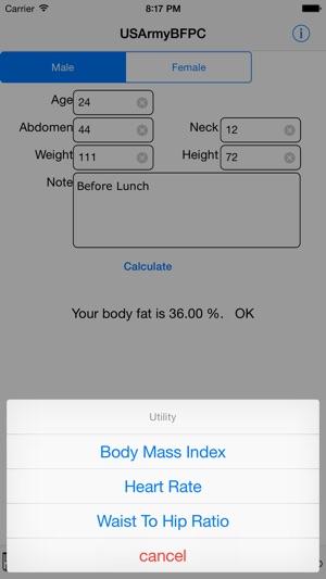 Army Body Fat Percentage