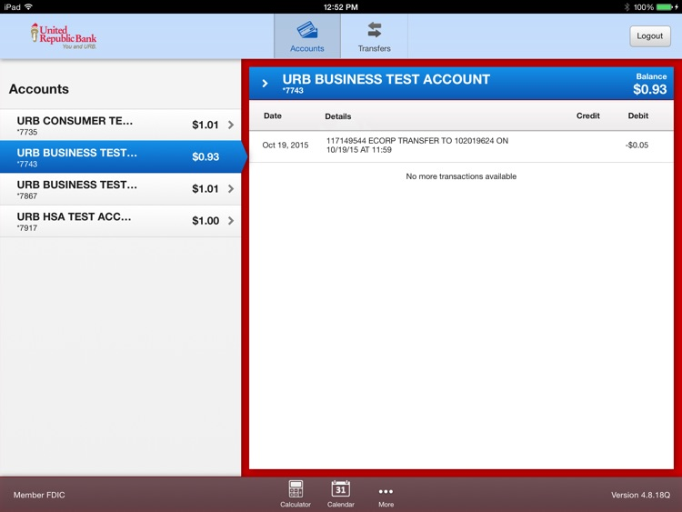 URB Mobile Banking for iPad