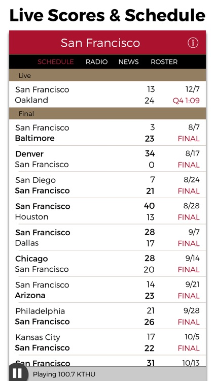 San Francisco Football Radio & Live Scores screenshot-2