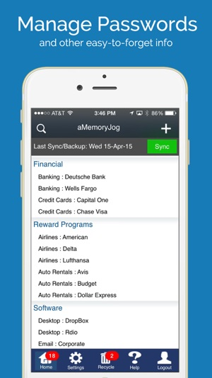 aMemoryJog PRO Secure Password Manager Vault & Digital Passcodes Safe Screenshot