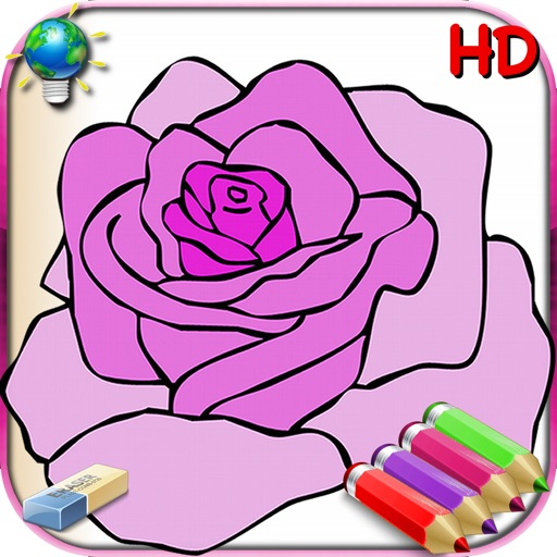 Coloring Book for Girls for iPad with colored pencils - 36 drawings to color with princesses, fairies, horses and more - HD