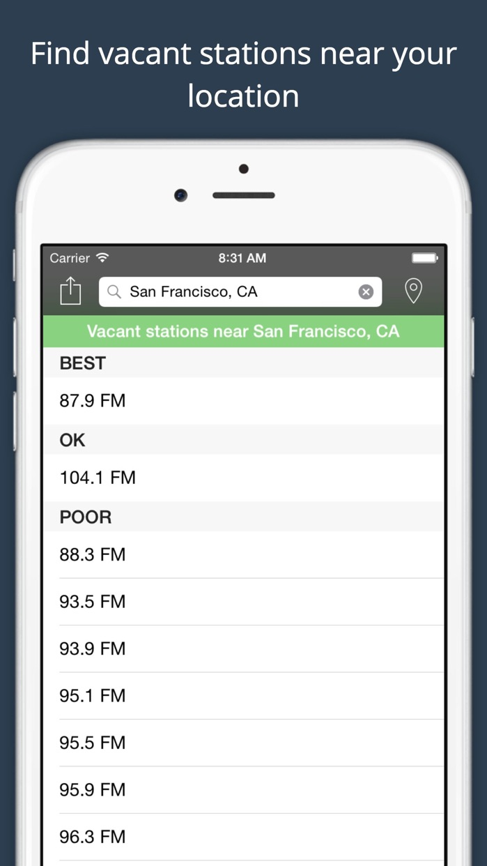 ClearFM -- FM Transmitter station finder Screenshot