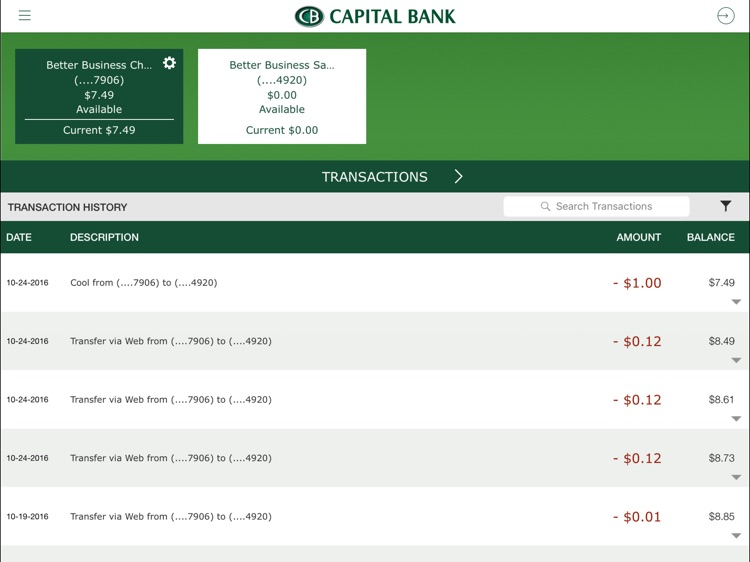 Capital Bank Corporation for iPad screenshot-2