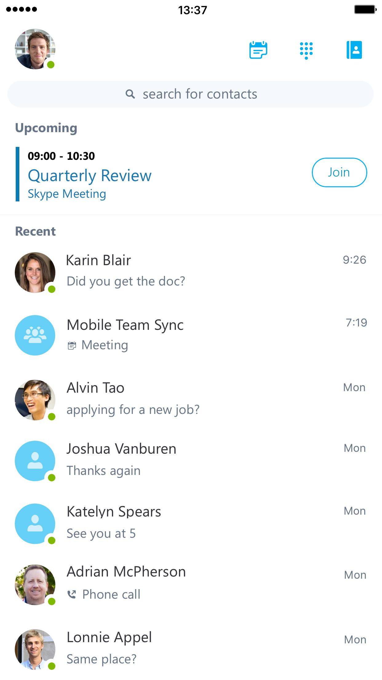 Skype for Business Screenshot