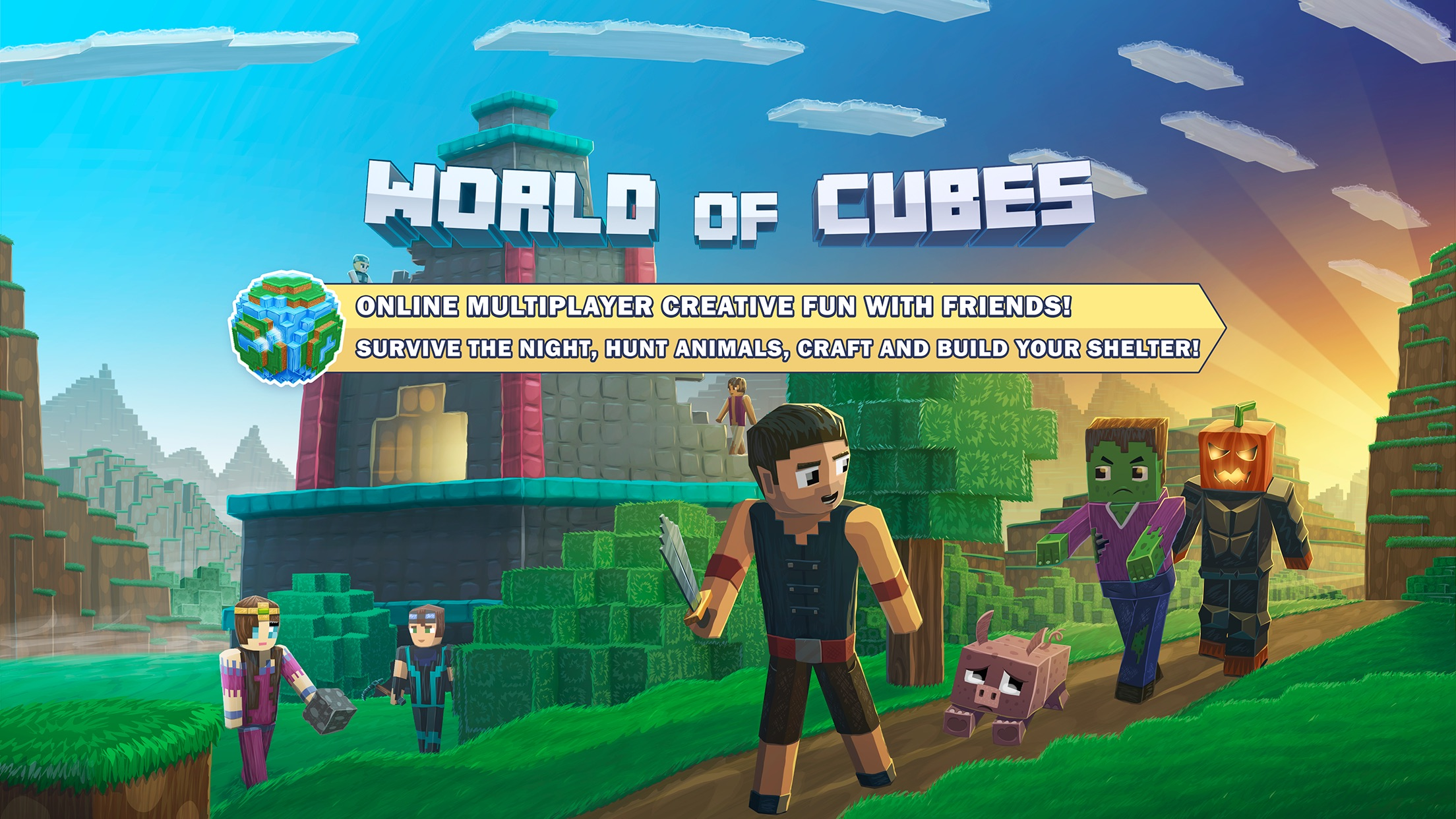 Best Minecraft Spin-off - World of Cubes Survival Craft Goes Free on iOS Image