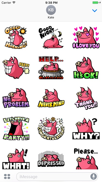 Pinky Pig - Cute stickers for iMessage