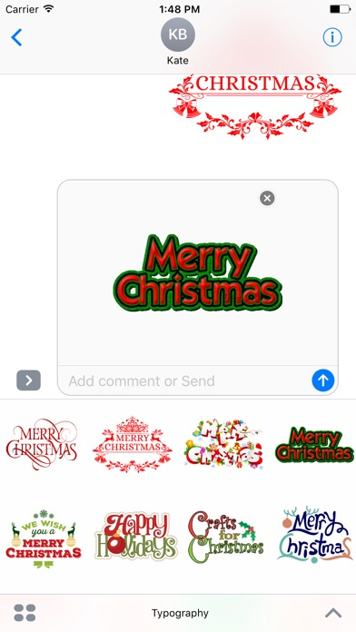 Merry Christmas Wish Typography Stickers-1