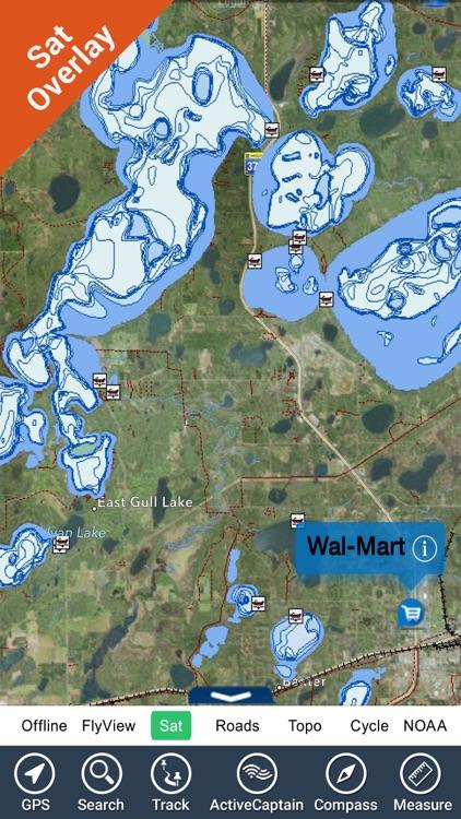 Maine lakes charts - GPS fishing maps Navigator