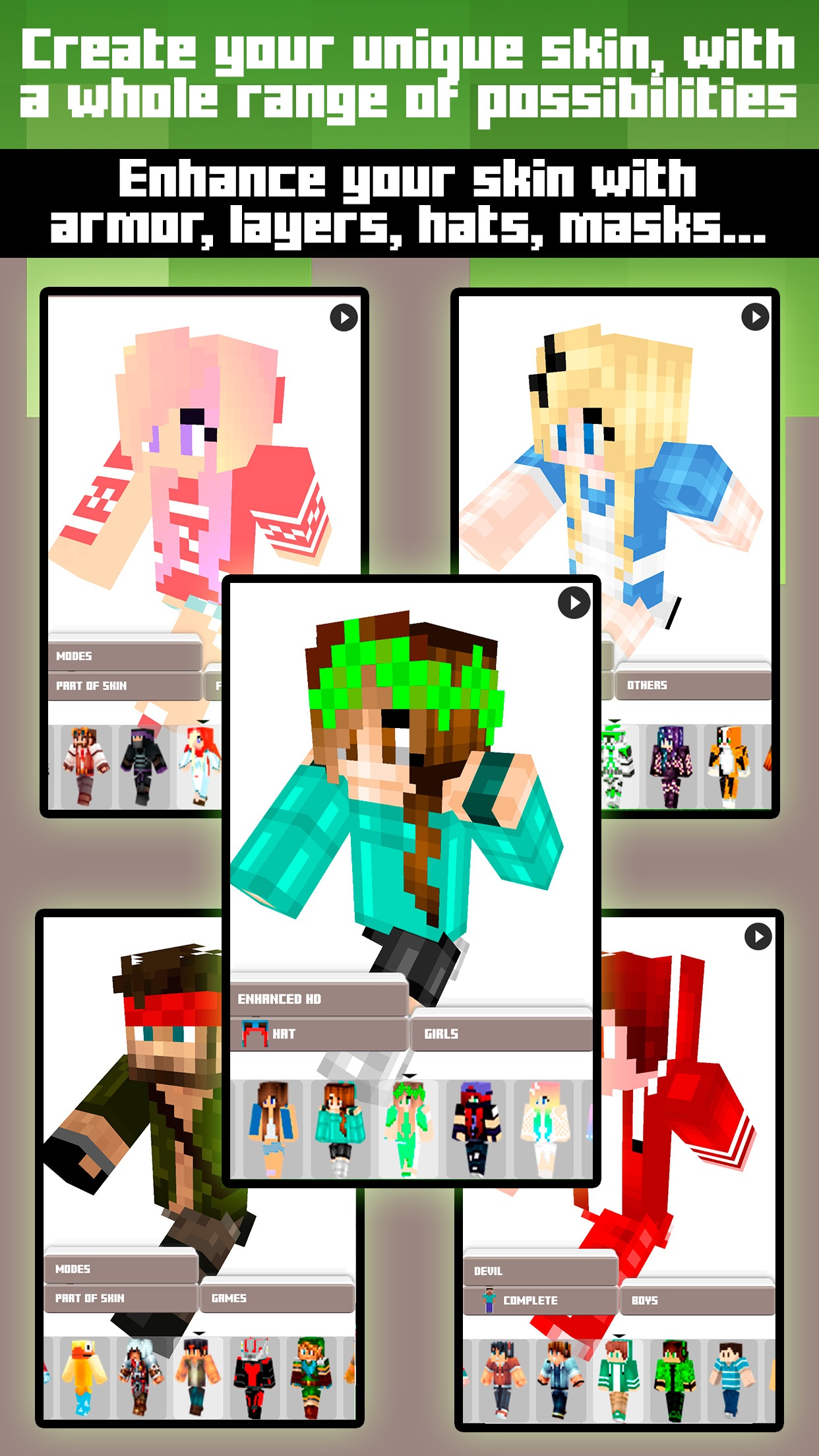 Skins for Minecraft PE & PC - Free Skins Screenshot
